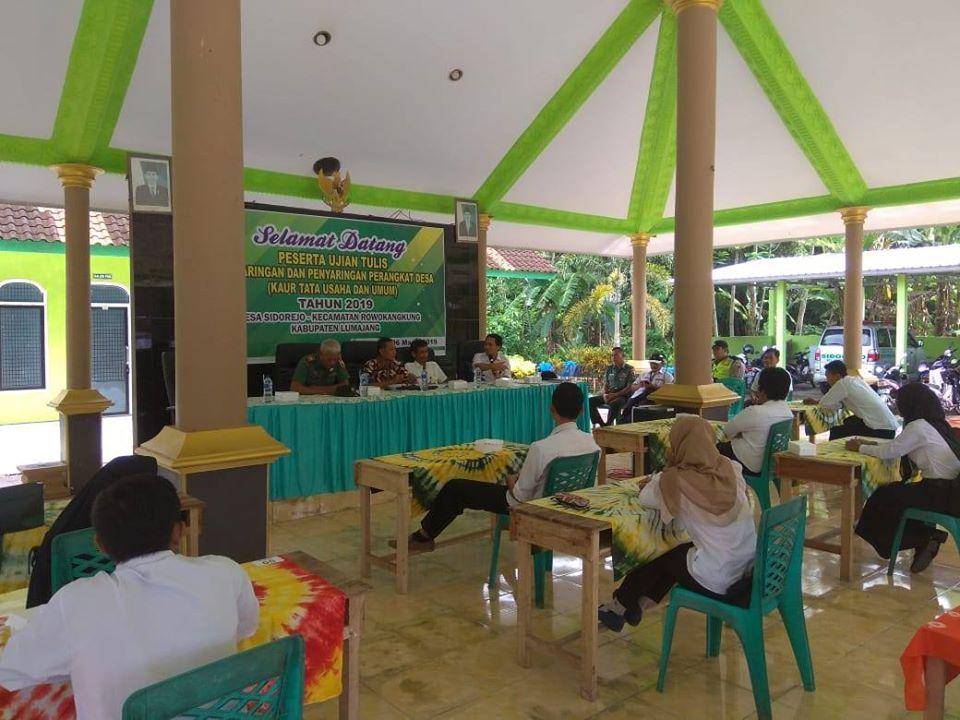 Pengawasan pelaksanaan Ujian Tulis (Pengisian Perangkat Desa) Sidorejo